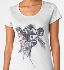 Hello - cow painting in ink and watercolors Women's Premium T-Shirt