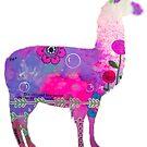 Llama mixed media bright colour graphic by MandalaArts