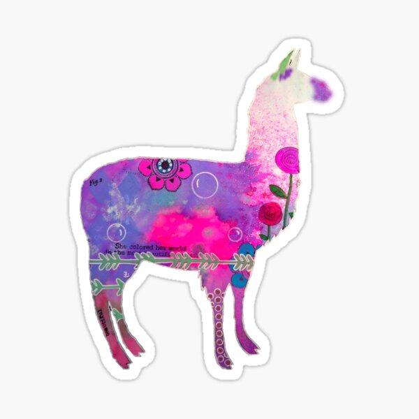 Llama mixed media bright colour graphic Sticker