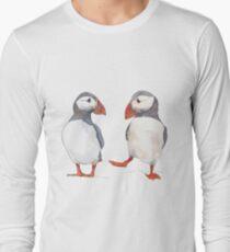 Puffin friends dancing - illustration Long Sleeve T-Shirt