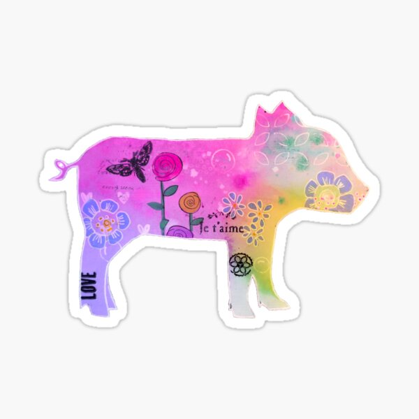 Colourful baby Piglet silhouette Sticker