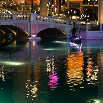 Razzle Dazzle - Colorful Neon Lights Up Canals and Gondolas at the Venetian Las Vegas by GeorgiaM