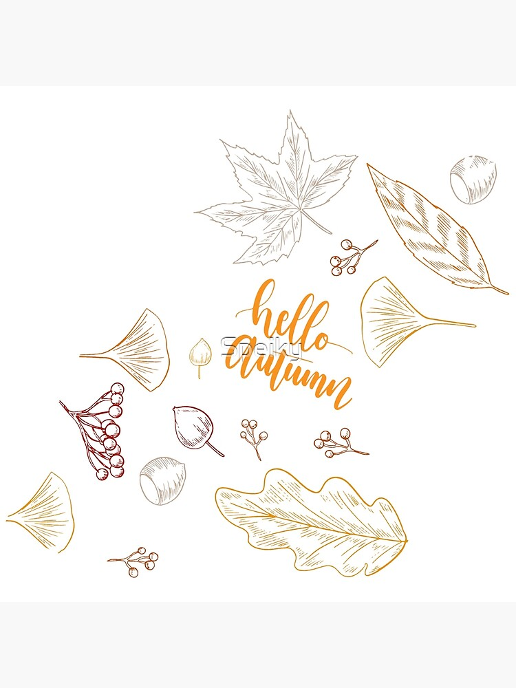 Hello Autumn Pile Of Leaves Art Board Print By Speiky Redbubble