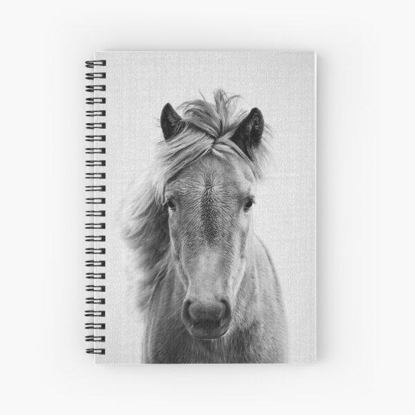 Horse - Black & White Spiral Notebook