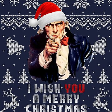 Uncle Sam I Wish You A Merry Christmas Holiday Pattern by idaspark
