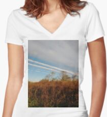 Autumn, Calvert Vaux Park, New York City, Brooklyn #Autumn #CalvertVauxPark, #NewYorkCity, #Brooklyn, Bay 44th St. &, Hunter Ave, Brooklyn, NY 11214, USA Women's Fitted V-Neck T-Shirt