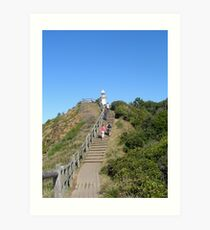 The climb up to famous Lighthouse! Byron Bay. Art Print