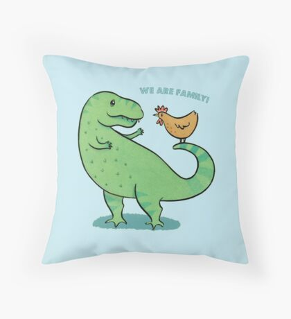 T Rex and Chicken - We are Family! Floor Pillow