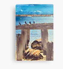 Birds on a Jetty Metal Print