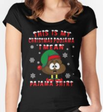 Christmas Poop Emoticon - Christmas Pajama Women's Fitted Scoop T-Shirt