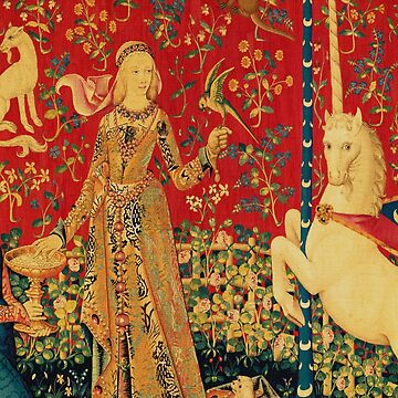 LADY AND UNICORN Taste Detail ,Red Green Fantasy Flowers,Animals by BulganLumini