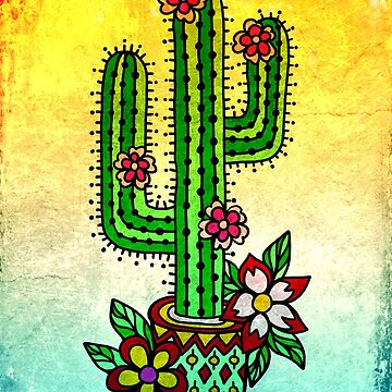 Cactus with Flowers Old School Tattoo Style by boom-art