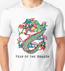 Chinese Year of The Dragon Painted Paper Cut Unisex T-Shirt