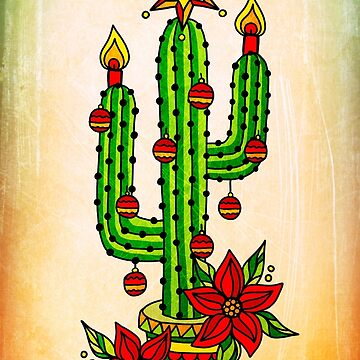 Christmas Tree Cactus with Star, Poinsettia candles and Christmas bauble  by boom-art