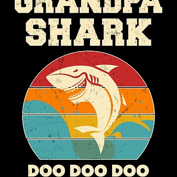 Grandpa Shark Retro Vintage Fathers Day Papa by JapaneseInkArt