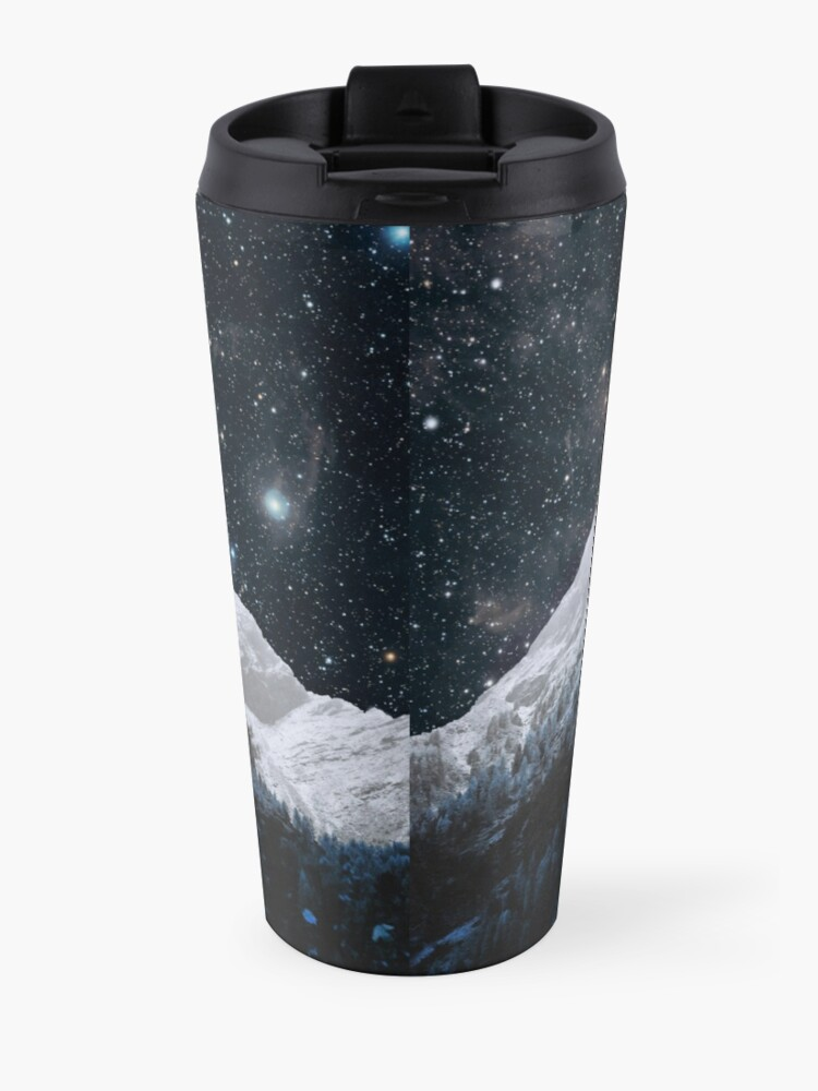 Alternate view of Mountains Attracts Galaxy Travel Mug
