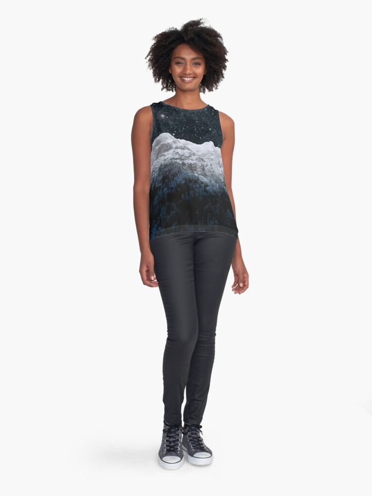 Alternate view of Mountains Attracts Galaxy Sleeveless Top