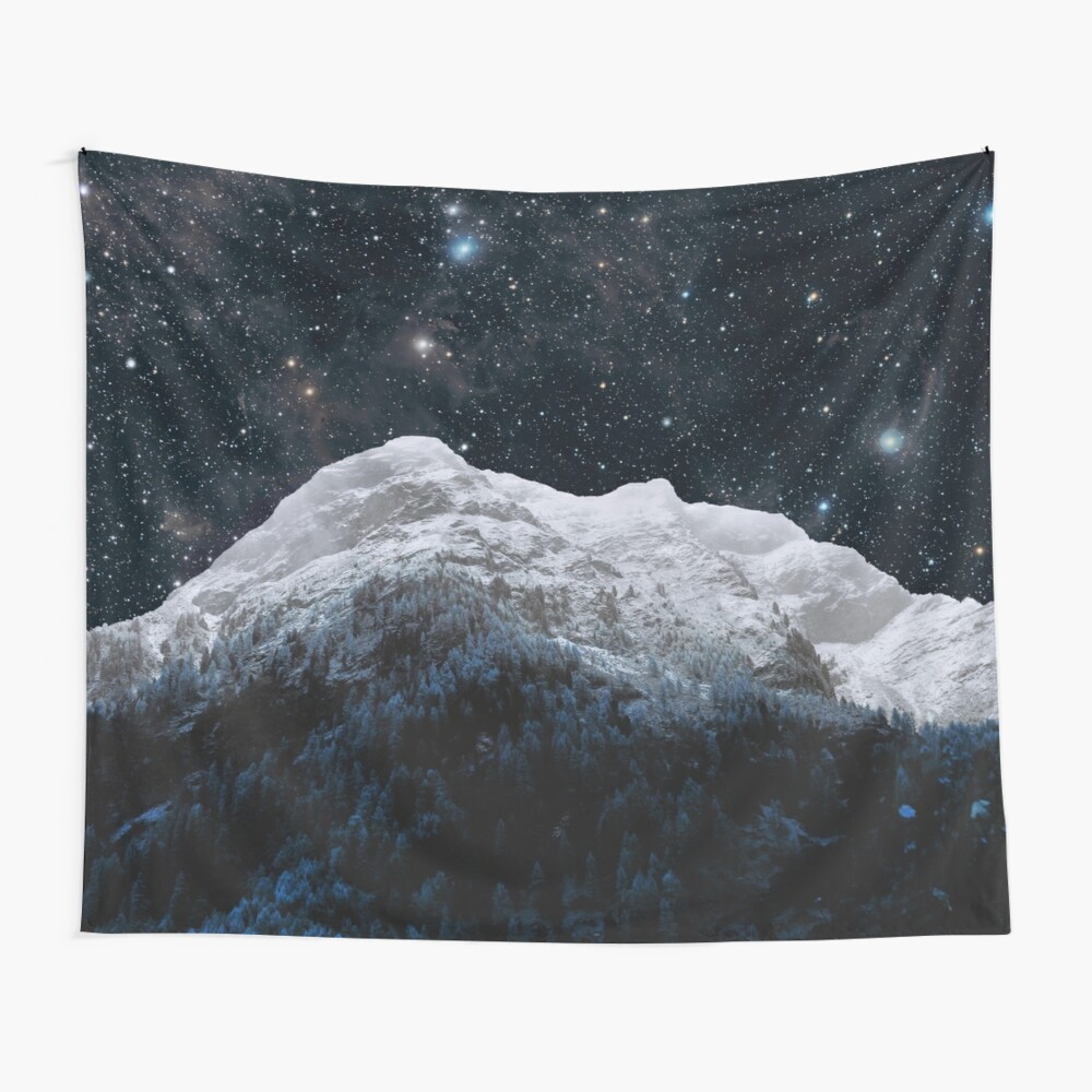 Mountains Attracts Galaxy Wall Tapestry
