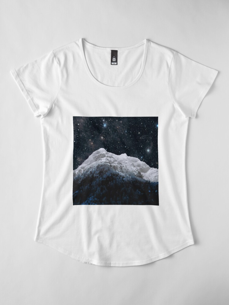 Alternate view of Mountains Attracts Galaxy Premium Scoop T-Shirt