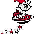 Santa Claus Alien UFO Christmas by Anne Mathiasz