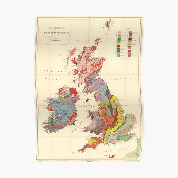Vintage Geological Map of The British Isles (1912) Poster