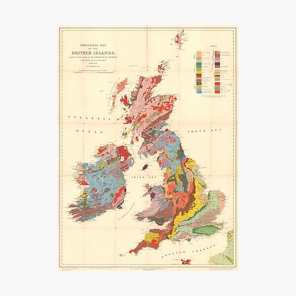 Vintage Geological Map of The British Isles (1912) Photographic Print