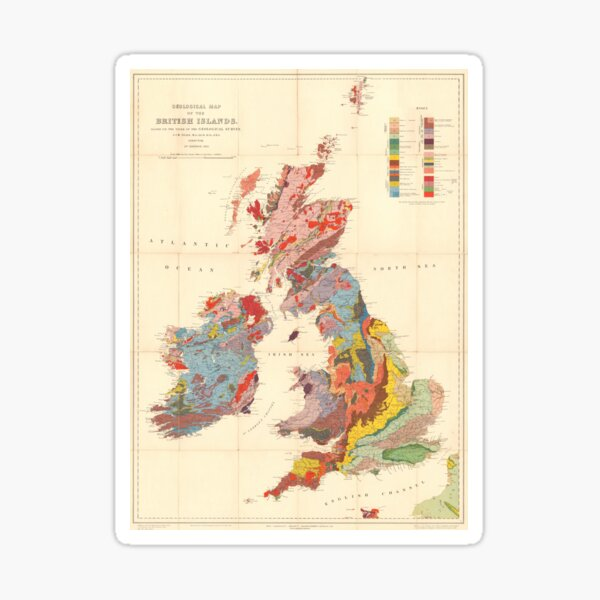 Vintage Geological Map of The British Isles (1912) Sticker