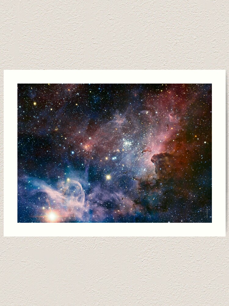 PINK BLUE BRIGHT DEEP SPACE NEBULAE GALAXY CANVAS PRINT WALL ART PICTURE