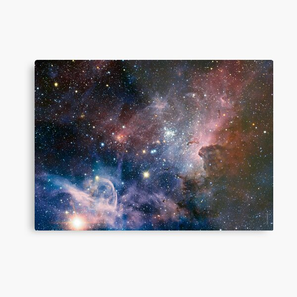 Carina Nebula NGC 3372 the Grand Nebula Pink Purple and Blue with shiny stars Space Telescope Picture HD HIGH QUALITY Metal Print