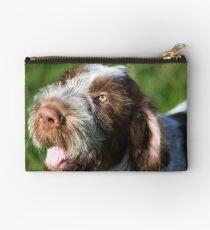 Spinone Puppy Smile - Brown Roan Italian Spinone Puppy Dog Head Shot Studio Pouch