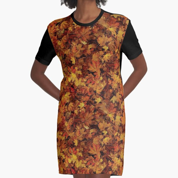 """NATURAL PATTERN """"AUTUMN LEAVES"""" Graphic T-Shirt Dress"""