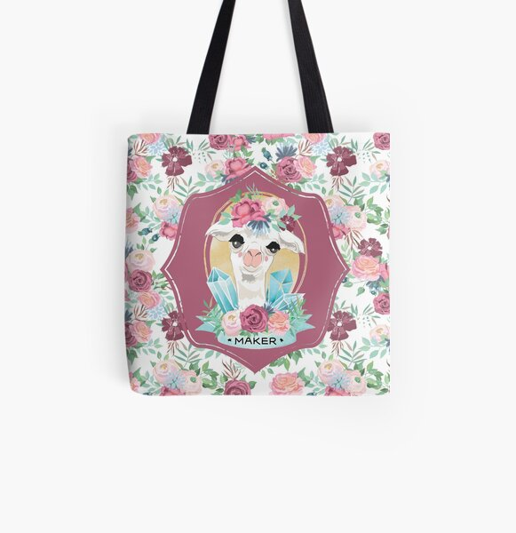 Flora the Alpaca Maker for Knitters, Crocheters, Cross Stitch, Sewists, All Craft Makers, Llama All Over Print Tote Bag