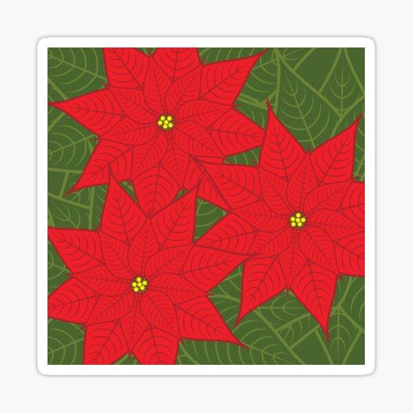 Red Poinsettia Christmas Flower Sticker