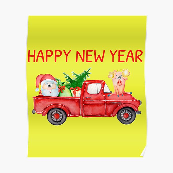 Old Red Truck - Year of the Pig 2019 - Chinese Lunar New Year Poster
