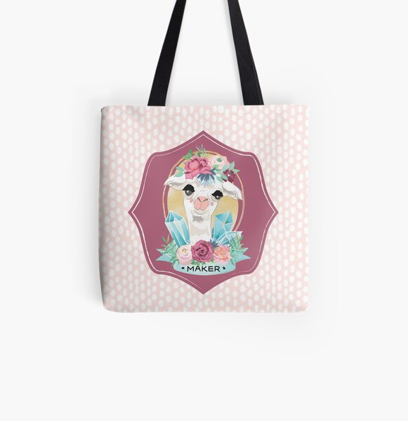Dotty Alpaca Maker for knitters, crocheters, all crafters All Over Print Tote Bag