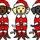 Christmas Santa Claus Labrador Puppies by HappyLabradors