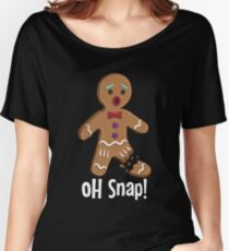 Gingerbread Man Oh Snap Snapped Leg Funny Christmas Women's Relaxed Fit T-Shirt