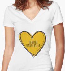 LANDER UNIVERSITY Women's Fitted V-Neck T-Shirt