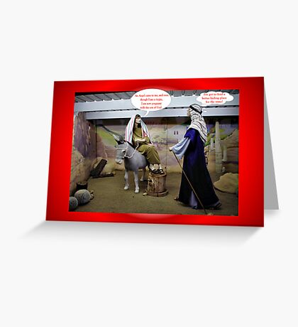 JOSEPH AND MARY IN BARN  FUNNY CHRISTMAS CARD Greeting Card
