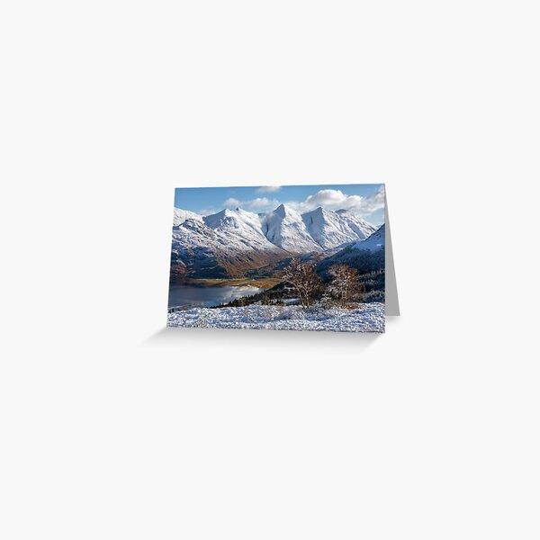 Five Sisters of Kintail Snow Scene Mam Ratagan Scotland Greeting Card