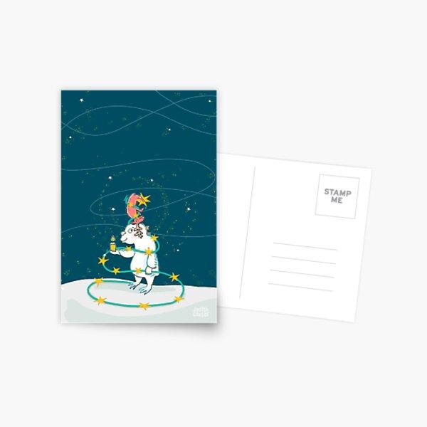Yeti & Hirsch als Weihnachtsbaum Postkarte