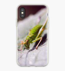 Macro photo of grasshopper on leaf   Photo iPhone Case