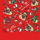 Christmas pattern with pugs by nokhookdesign