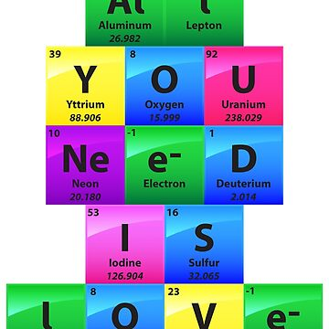 All You Need Is Love Periodic Table Of Elements - Chemistry Quotes Gift by yeoys