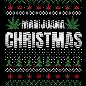 Marjuana Christmas Red and Green Funny Marijuana Ugly Sweater CBD Oil by stockwell315