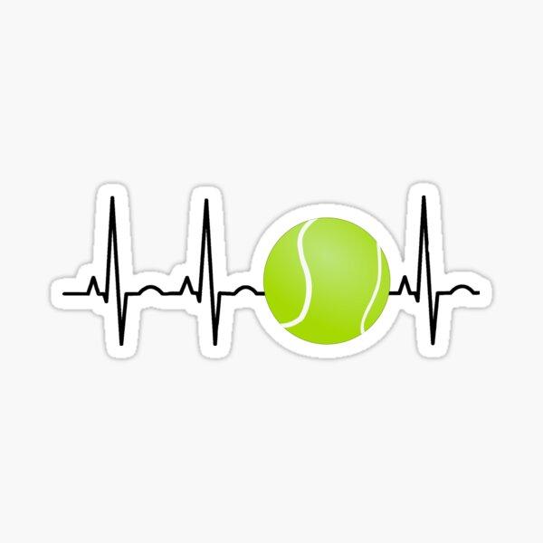 Tennis Ball Heartbeat Funny Tennis Lover Player Sticker