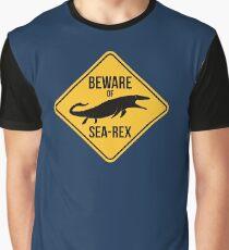 Beware of Sea-Rex Mosasaurus Sign Graphic T-Shirt