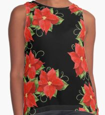 Poinsettias with leaves. Christmas Flower. Sleeveless Top