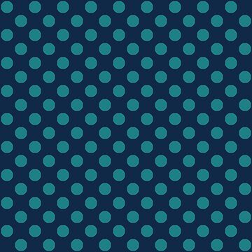 Large Polka Dots in Teal on Navy Blue by MelFischer