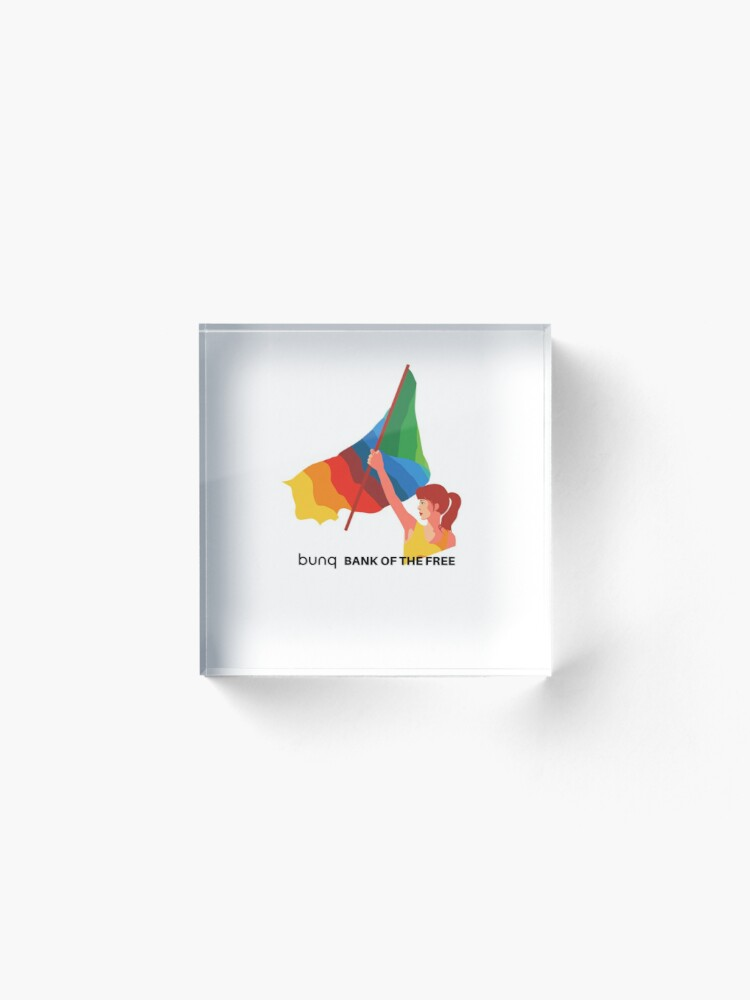 Alternate view of bunq flag Acrylic Block